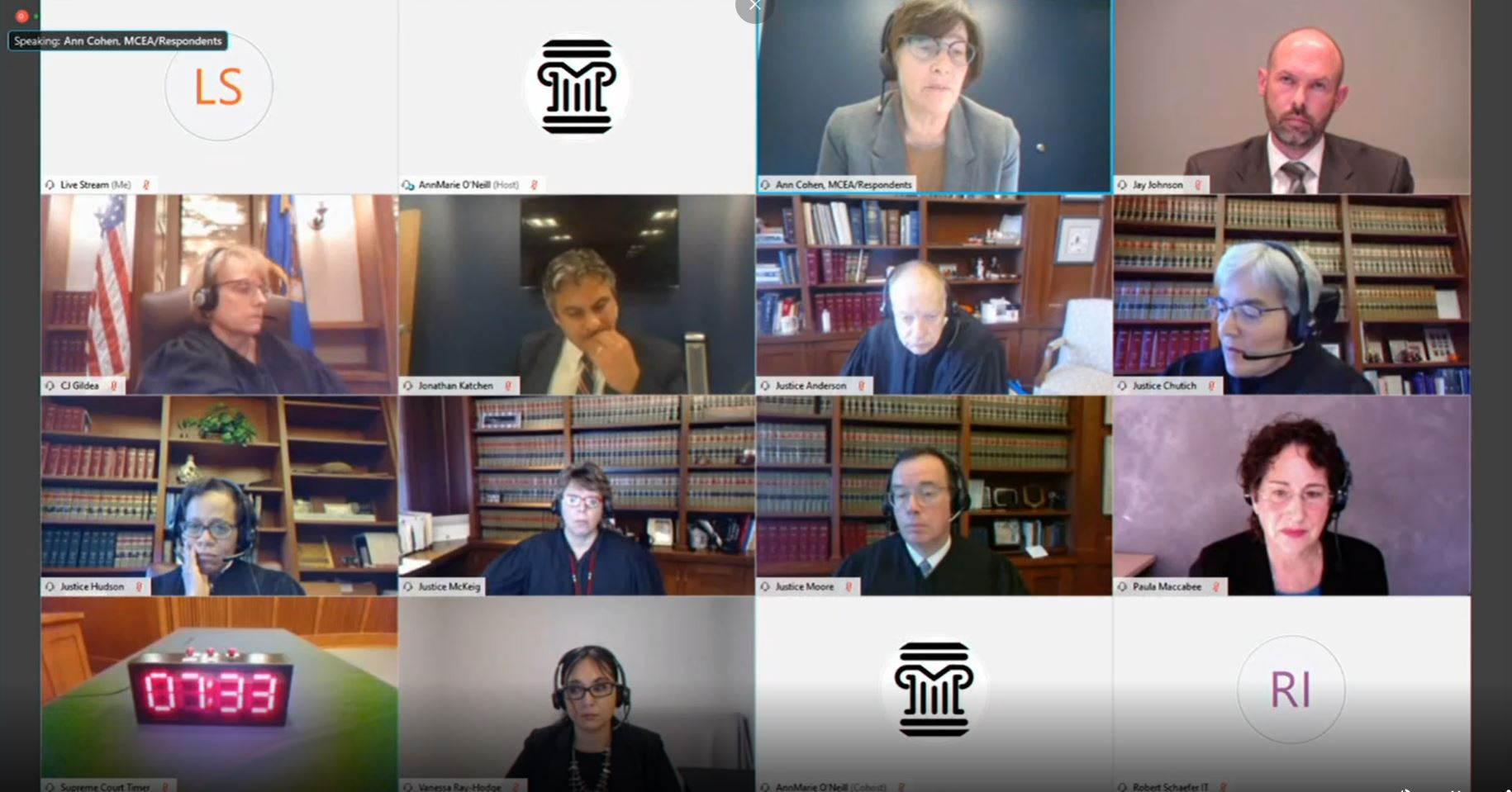 Image of the virtual Supreme Court oral argument on PolyMet permit to mine and dam safety permit