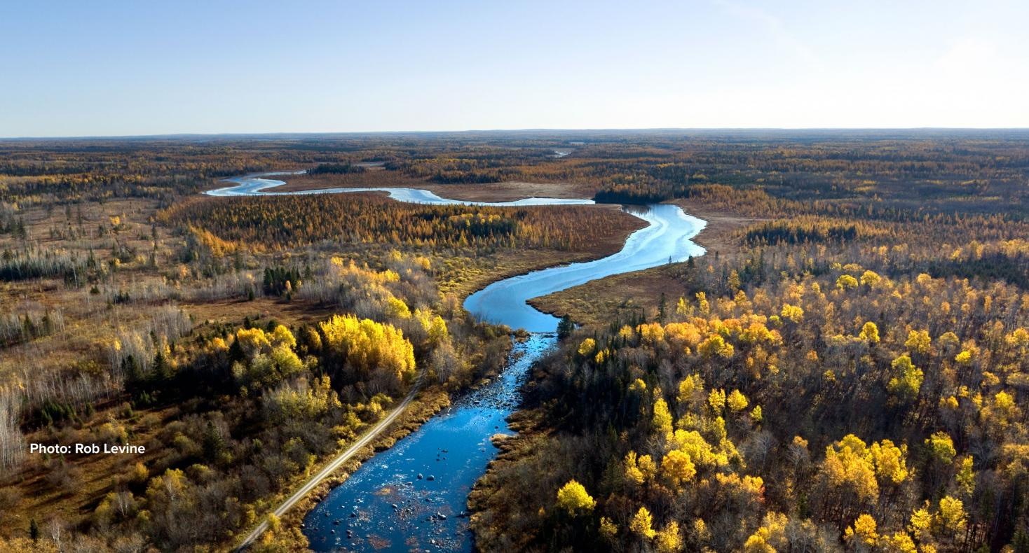 The upper St. Louis River near Skibo Landing, in the vicinity of the proposed PolyMet copper sulfide mine. Photo courtesy of Rob Levine.