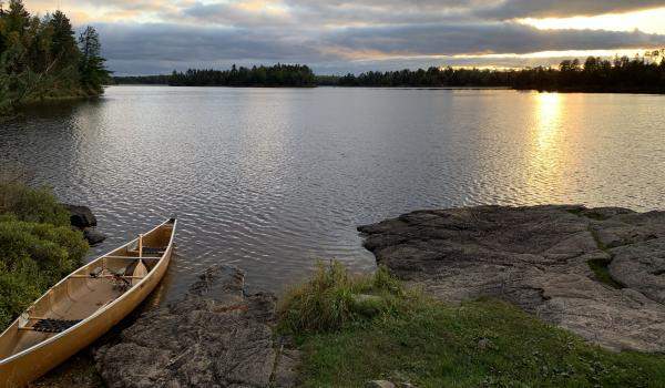 Canoe on the lake shore in the Boundary Waters