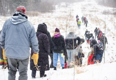 Line 3 water protectors walking on a trail